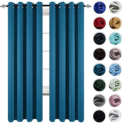KEQIAOSUOCAI 2 Panels Teal Bedroom Curtains 95 Inch Length Room Darkening Grommet Blackout Windo ...