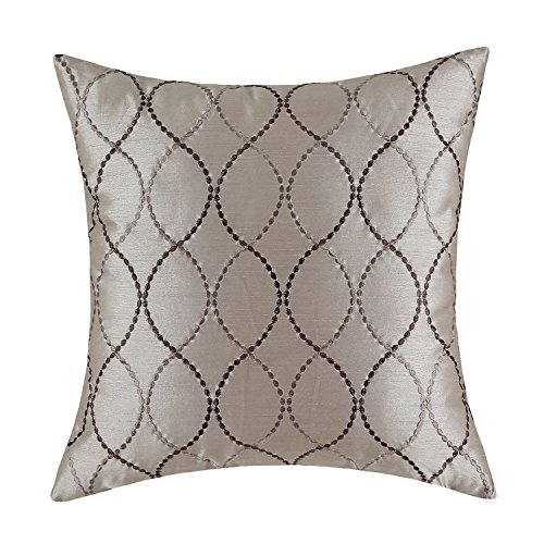 CaliTime Faux Silk Throw Pillow Case Cover Sofa Couch Home Decoration Modern Waves Lines Embroid ...
