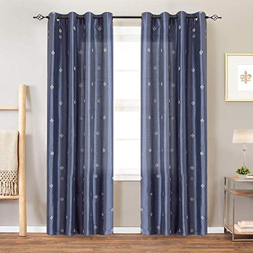 Flur De Lis Embroidered Curtains for Bedroom Drapes Semi Sheer Curtains for Living Room Faux Sil ...