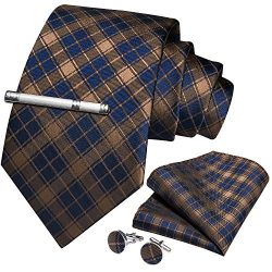 DiBanGu Gold and Blue Plaid Tie and Pocket Square Set for Men Silk Necktie Handkerchief Tie Clip
