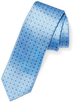 BUTTONED DOWN Men's Classic Silk 3″ Necktie, light blue windowpane, Extra Long