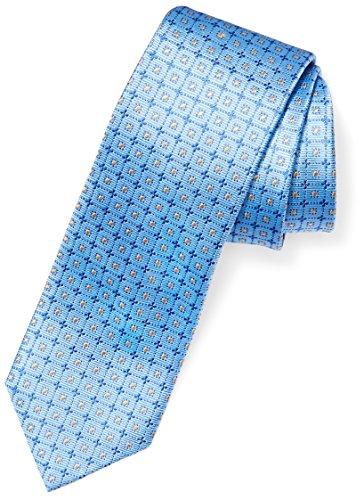 BUTTONED DOWN Men's Classic Silk 3″ Necktie, light blue windowpane, Extra Long