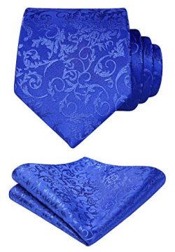 HISDERN Floral Woven Tie Classic Men's Necktie & Pocket Square Set Blue
