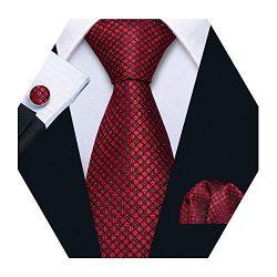 Barry.Wang Mens Red Plaid Check Silk Necktie Set Formal Tie Pocket Square Cufflinks Set