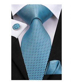 Dubulle Mens Blue Plaid Silk Tie and Pocket Square Set with Cufflinks for Wedding
