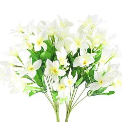 NAHUAA 2PCS Outdoor Artificial Silk Narcissus Flower Bundles Fake Plants Bushes Faux Floral Bouq ...
