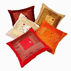Rastogi Handicrafts Silk Zari Hand Embroidery Work Silk 5 Piece Cushion Cover Set – Multicolor