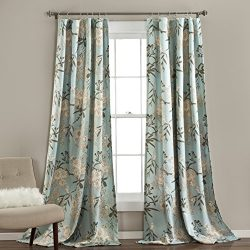 Lush Decor Botanical Garden Curtains Floral Bird Print Room Darkening Window Panel Set for Livin ...