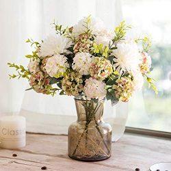 YILIYAJIA Artificial Hydrangea Silk Flowers with Glass Vase 33 Head Flower Bulk Arrangement Bouq ...