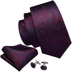 Barry.Wang Paisley Tie Set Burgundy Handkerchief Cufflink Silk Wedding