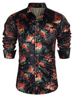 COOFANDY Men's Floral Button Down Shirts Long Sleeve Slim Fit Casual Satin Luxury Printed  ...