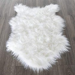 Silk Road Concepts SR-FFL-2X3 High Pile Fluffy Sheepskin Rug, 2′ x 3′, White