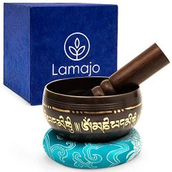 Lamajo Wellness ~ Tibetan Singing Bowl Set ~ with Mallet and Silk Cushion ~ Holistic Design ~ Mu ...