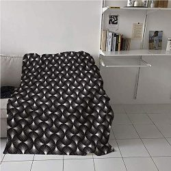 Suchashome Abstract Blanket Cozy,Futuristic Geometric Background Design Arc Shaped Lines Grid P ...