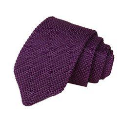 Men's Skinny Smart Knit Ties Vintage Formal Basic Neckties for Weddings, Groom, Groomsmen (K)
