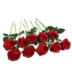 Artificial Flowers Roses Silk Flowers Fake Long Stem Red Artificial Roses for Wedding Home Decor ...