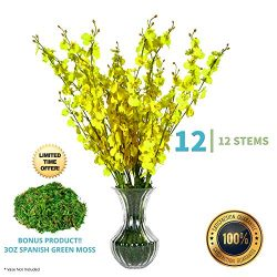 Lifelike FIFTH EDEN Artificial Flowers Set: 12 Silk Flowers Artificial for Decoration: Adjustabl ...