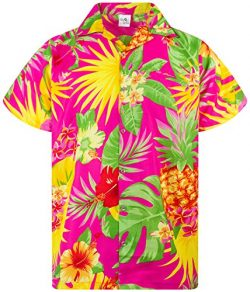 King Kameha Funky Hawaiian Shirt, Shortsleeve, Pineapple, Pink, 5XL