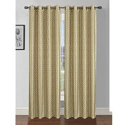 Window Elements Camille Printed Faux Silk 76 x 84 in. Grommet Curtain Panel Pair, Yellow/Grey