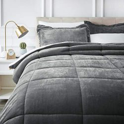 AmazonBasics Ultra-Soft Micromink Sherpa Comforter Bed Set – Full or Queen, Charcoal