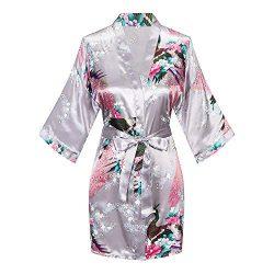 WitBuy Women's Floral Satin Kimono Robe Silk Short Bridesmaids Robe with Pockets Grey XL