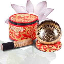 Tibetan Singing Bowls Set, Ohuhu 4″ Meditation Sound Bowl with Singing Bowl Mallet, Silk C ...