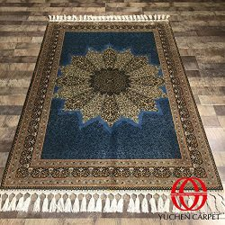 Persian Silk Carpet 4'x6′ Blue Oriental Area Rug For Bedroom 4ft by 6ft Yuchen Carpet