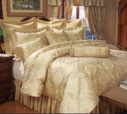 KingLinen 9 Piece Queen Gold Imperial Comforter Set