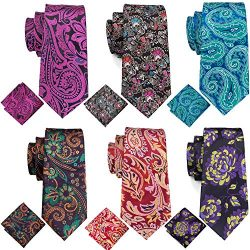 Barry.Wang Mens Paisley Tie Set Silk Woven Red Purple Green Tie Pocket Square Cufflinks