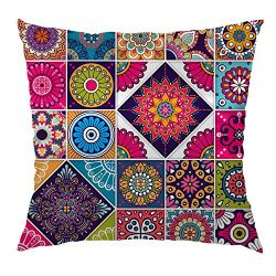 Moslion Indian Pillow Case Decorative Throw Pillow Cover Arabic Indian Checked Pattern Satin Squ ...
