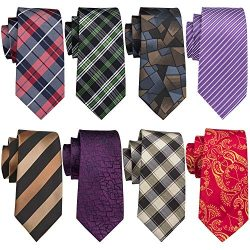 Barry.Wang Mens Silk Tie Pack 8PCS Classic Necktie Set for Men Extra Long Tie