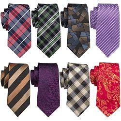 Barry.Wang Mens Silk Tie Pack 8PCS Classic Necktie Set for Men Extra Long Tie