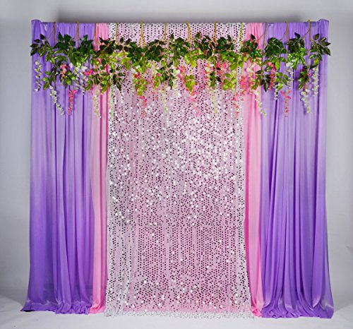 Kate 5(W) x16ft(H) Glitter Silver Sequins Stage Decorations Backdrops 4 Pieces of Pink Purple Ic ...