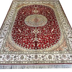 Yilong 6'x9′ Red Traditional Area Rugs Silk Handmade Oriental Persian Medallion Carpet