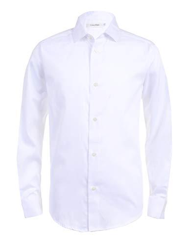 Calvin Klein Boys' Big Long Sleeve Sateen Dress Shirt, White, 16