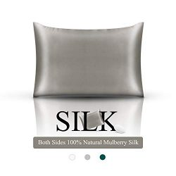 Silk Pillowcase 19 Momme Silk Pillow Cover for Better Hair Skin and Facial Beauty Both Side 100% ...