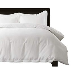 Bedsure 100% Bamboo White Twin Duvet Cover Set – Breathable and Wrinkle Resistant Comforte ...
