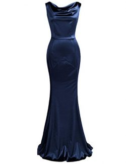 MUXXN Women's V Back Neck Fitted Wedding Party Gowns Dress (Blue M)