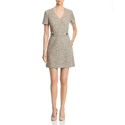 Tory Burch Womens Tweed V-Neck Scuba Dress