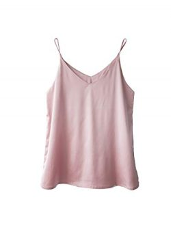 Wantschun Womens Silk Satin Camisole Cami Plain Strappy Vest Top T-Shirt Blouse Tank Shirt V-Nec ...