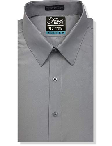 Luxe Microfiber Men's Fitted Point Collar Dress Shirt – Style Vince Gray