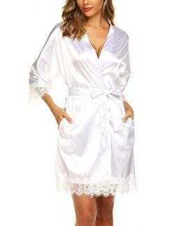 URRU Women's Bathrobes Short Kimono Robe Bridesmaids Satin Sleepwear Above Knee Length White S