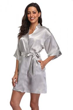 season dressing Women Satin Plain Short Kimono Bridesmaid Bathrobe Wedding Party Robe, Silver Small