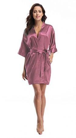 Luvrobes Women's Satin Kimono Robe, Solid Color, Short (Bodacious, S)