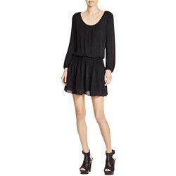 Joie Women' Bain Long Sleeve Smocked Silk Dress Black Size X-Small