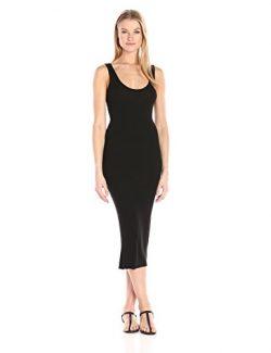 Enza Costa Women's Stretch Silk Rib Tank Midi Dress, Black, S