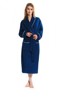 Jones New York Women's Bathrobe Long Sleeve Soft Comfortable Spa Robe, Navy, Large/X-Large