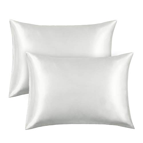 FAMIROSA Silk Satin Pillowcase 2 Pack, Standard Satin Bedding Sets Pillow Cover Preventing Hair  ...