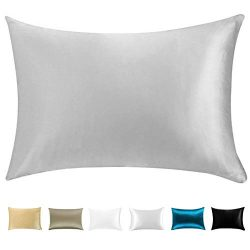 Wonwo Silk Pillowcase, 100% Natural Mulberry Standard Size Bed Pillow case for Hair and Skin wit ...