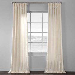 HPD Half Price Drapes SSKR-71833-96 Faux Dupioni Raw Silk Curtain, 50 X 96, Vireo Ivory